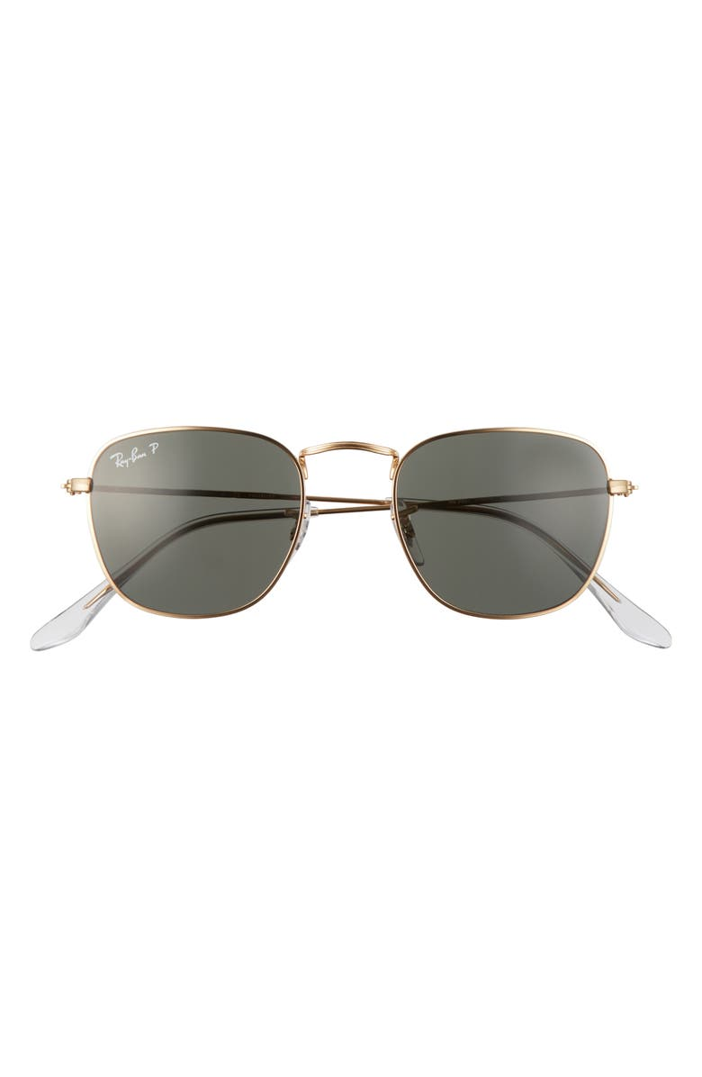 RAY-BAN Frank 48mm Polarized Square Sunglasses, Main, color, LEGEND GOLD/ GREEN