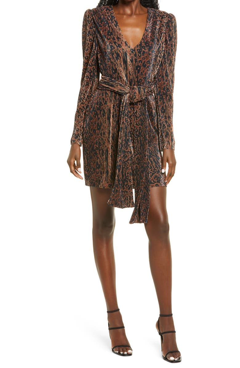 WAYF Riverside Pleated Long Sleeve Faux Wrap Minidress, Main, color, ABSTRACT ANIMAL PLISSE