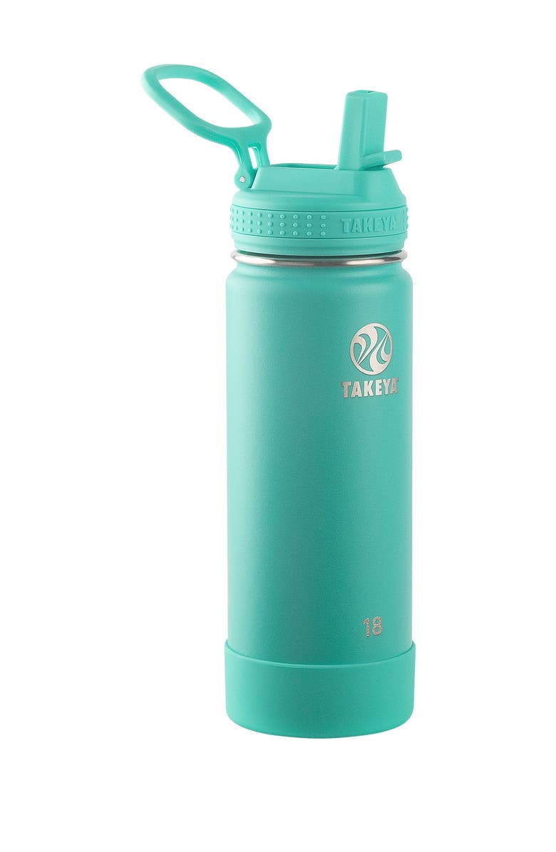 TAKEYA Actives Insulated 18 oz. Stainless Steel Bottle with Straw Lid - Teal, Main, color, TEAL