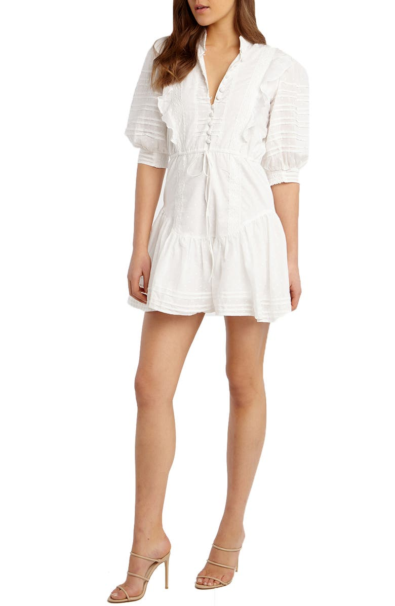 BARDOT Henrietta Cotton Eyelet Minidress, Main, color, 900