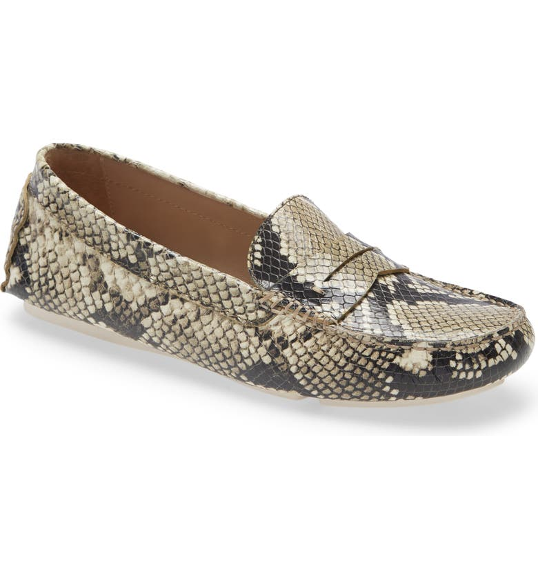 JOHNSTON & MURPHY Maggie Driving Loafer, Main, color, BEIGE SNAKE LEATHER