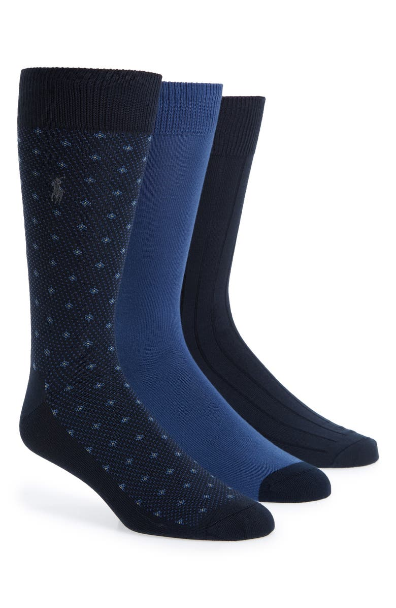 POLO RALPH LAUREN Assorted 3-Pack Supersoft Dress Socks, Main, color, NAVY