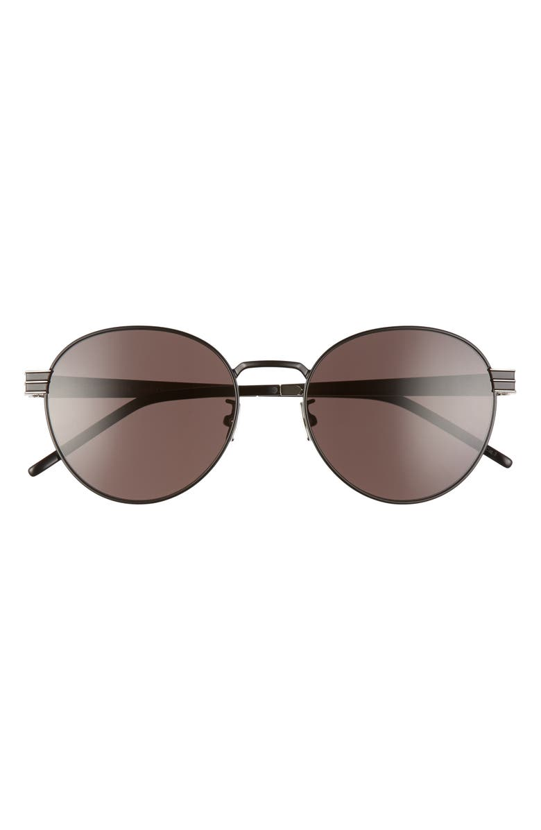 SAINT LAURENT 55mm Oval Sunglasses, Main, color, SEMI MATTE/ BLACK