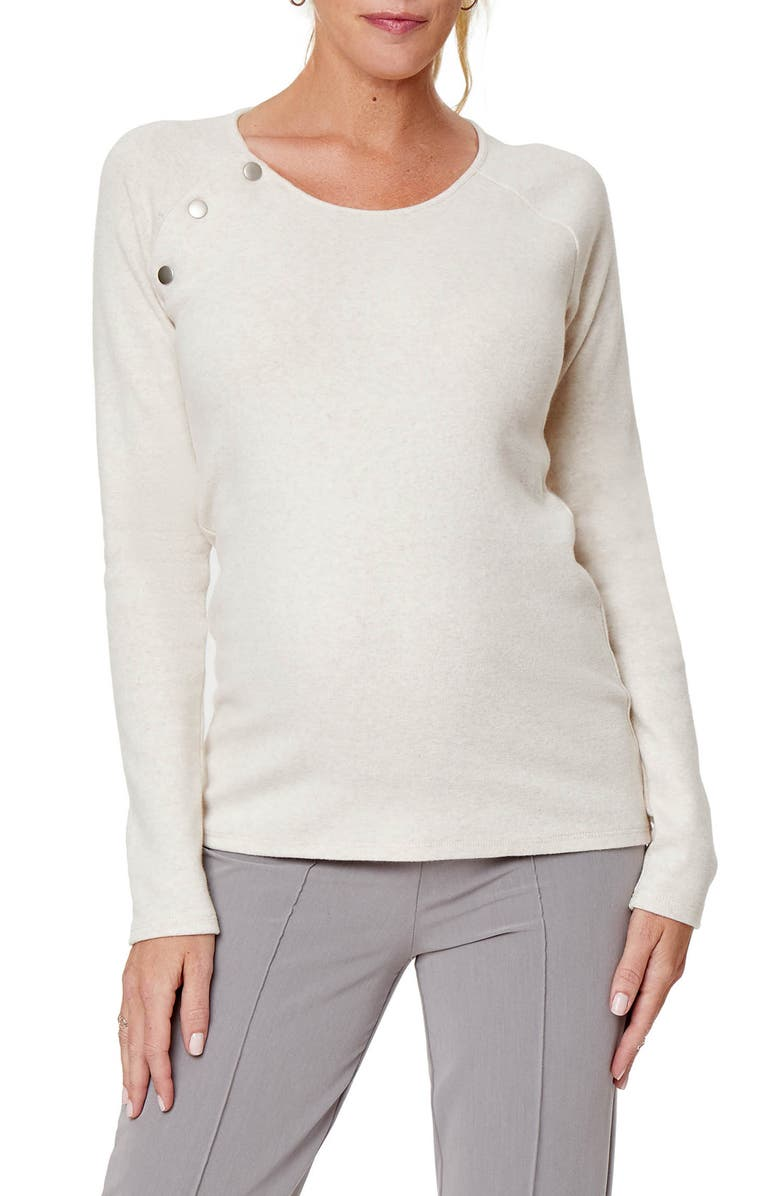 STOWAWAY COLLECTION Maternity/Nursing Sweater, Main, color, OATMEAL