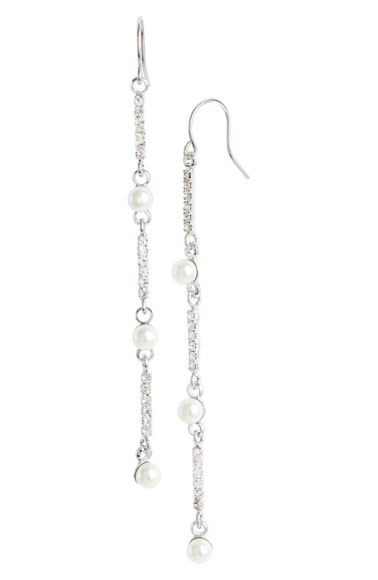 CRISTABELLE Imitation Pearl & Crystal Linear Earrings, Main, color, 040