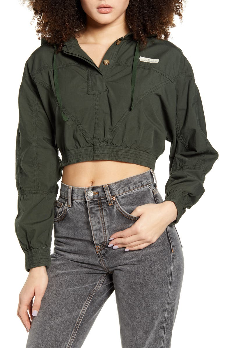 BDG URBAN OUTFITTERS Crop Poplin Jacket, Main, color, ARMY
