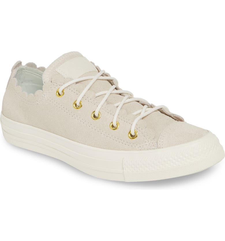 CONVERSE Chuck Taylor<sup>®</sup> All Star<sup>®</sup> Scallop Low Top Leather Sneaker, Main, color, 020