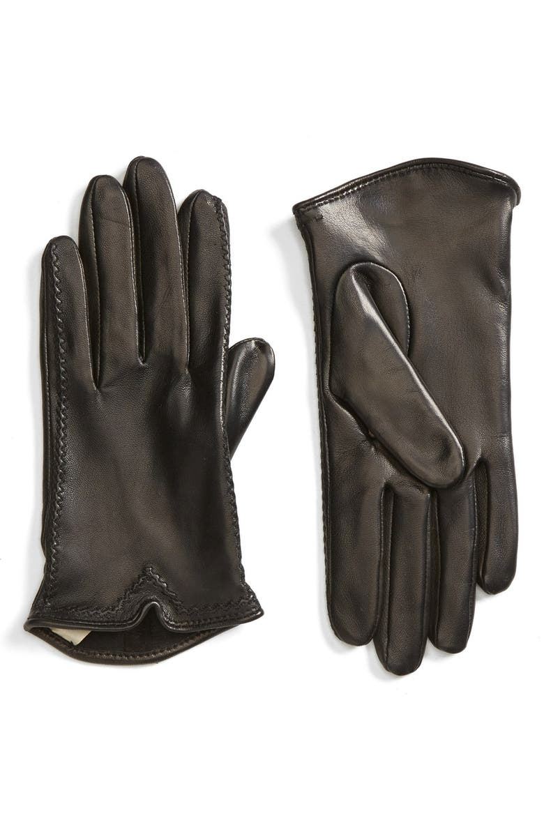 FOWNES BROTHERS Stitched Leather Gloves, Main, color, 001