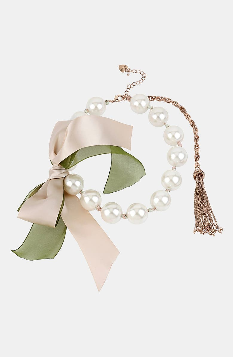 BETSEY JOHNSON 'Vintage Bow' Faux Pearl & Ribbon Necklace, Main, color, 650