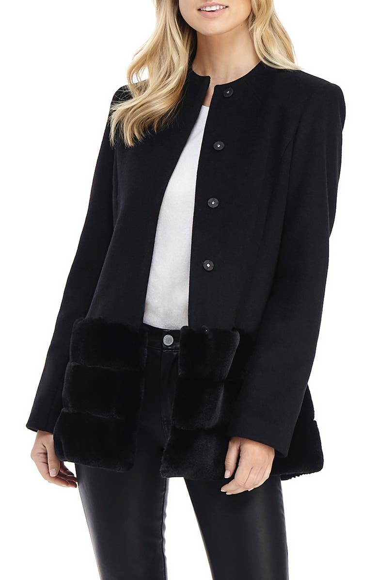 GAL MEETS GLAM COLLECTION Wool Blend Jacket with Faux Fur Hem, Main, color, 001
