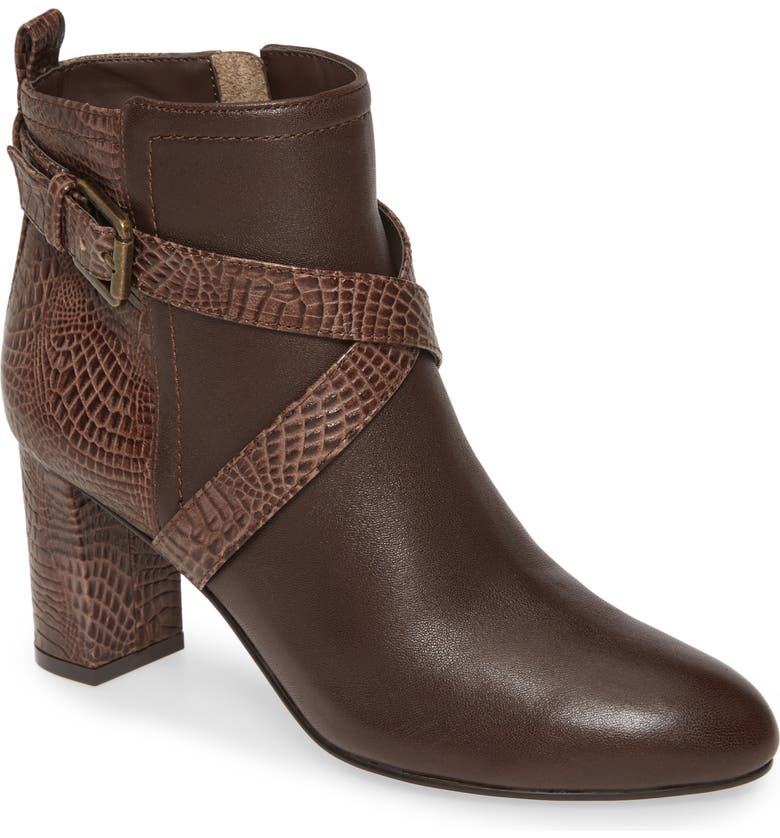 DAVID TATE Inspire Snake Embossed Bootie - Multiple Widths Available, Main, color, BROWN LEATHER