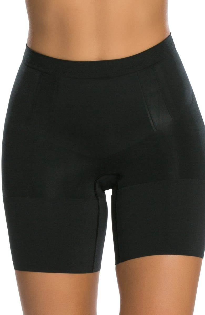 SPANX<SUP>®</SUP> OnCore Mid Thigh Shaper Shorts, Main, color, VERY BLACK