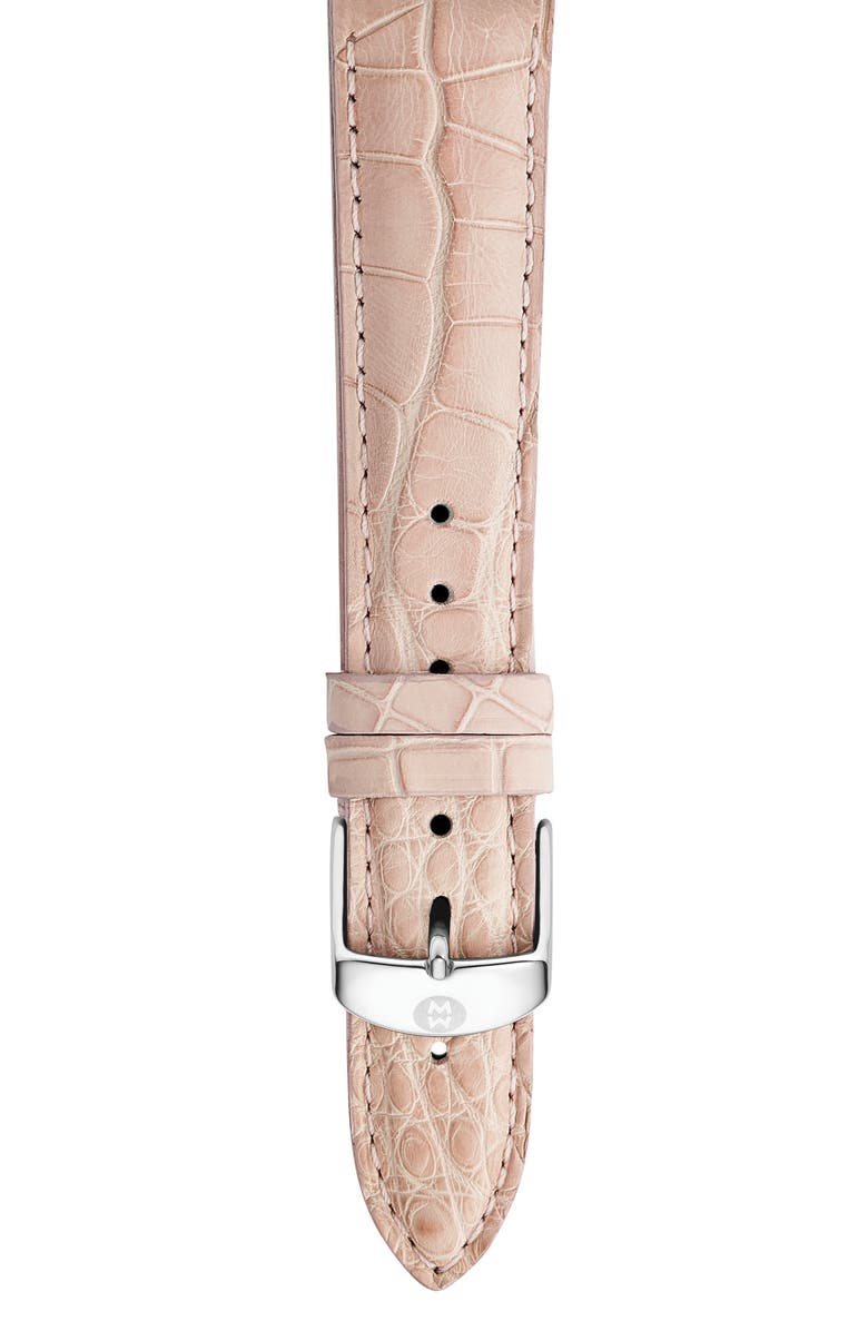 MICHELE 18mm Alligator Watch Strap, Main, color, BLUSH PINK