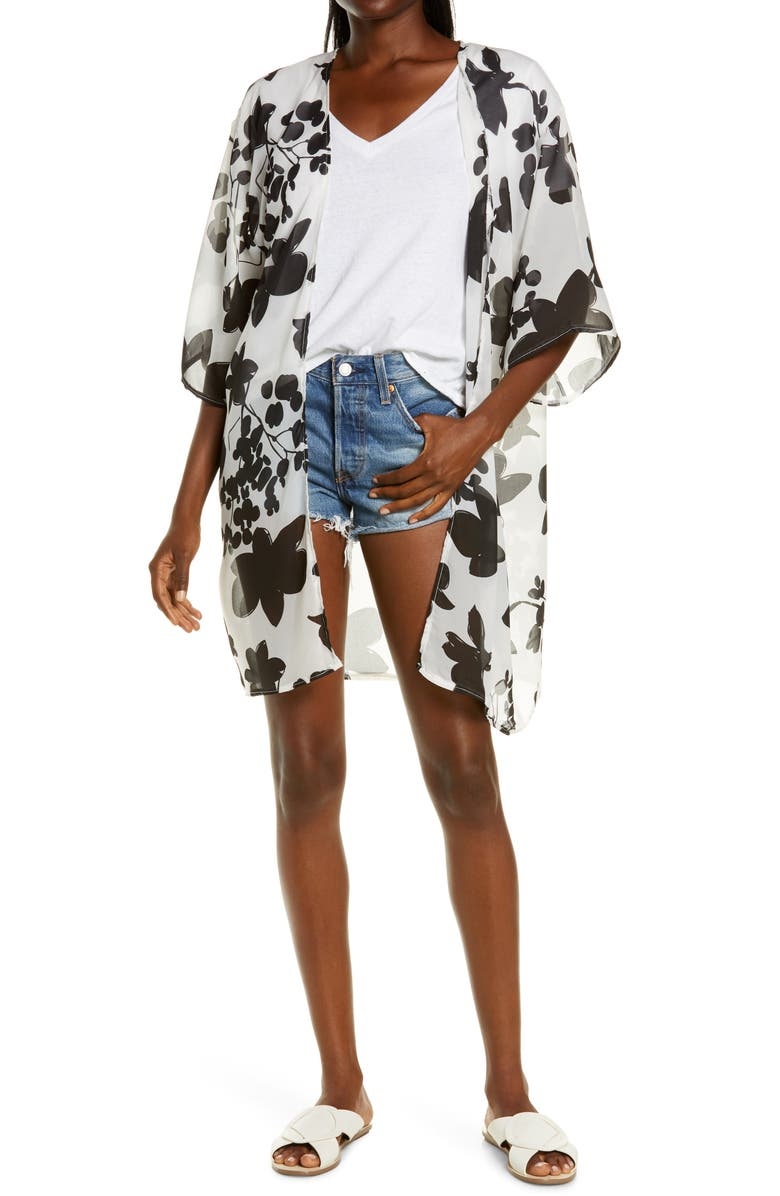 SOLE SOCIETY Floral Chiffon Cover-Up, Main, color, WHITE