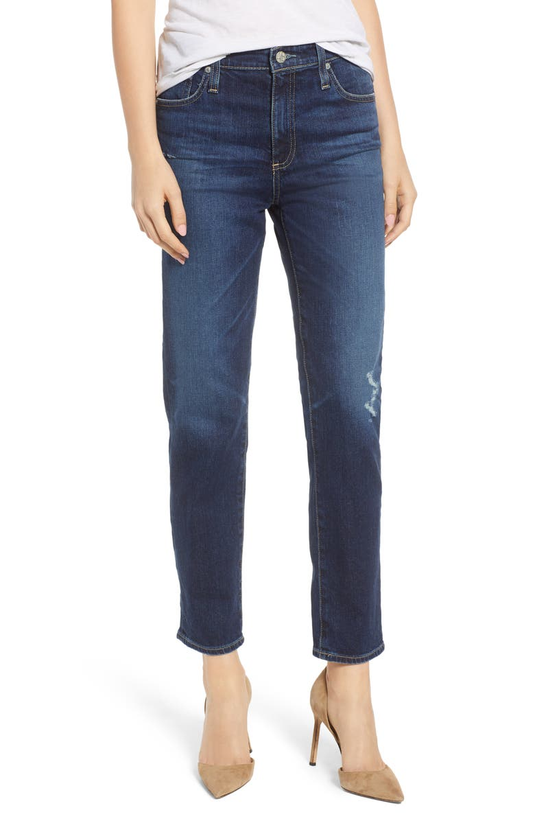 AG The Isabelle High Waist Crop Straight Leg Jeans, Main, color, 12 YEARS VERBIAGE