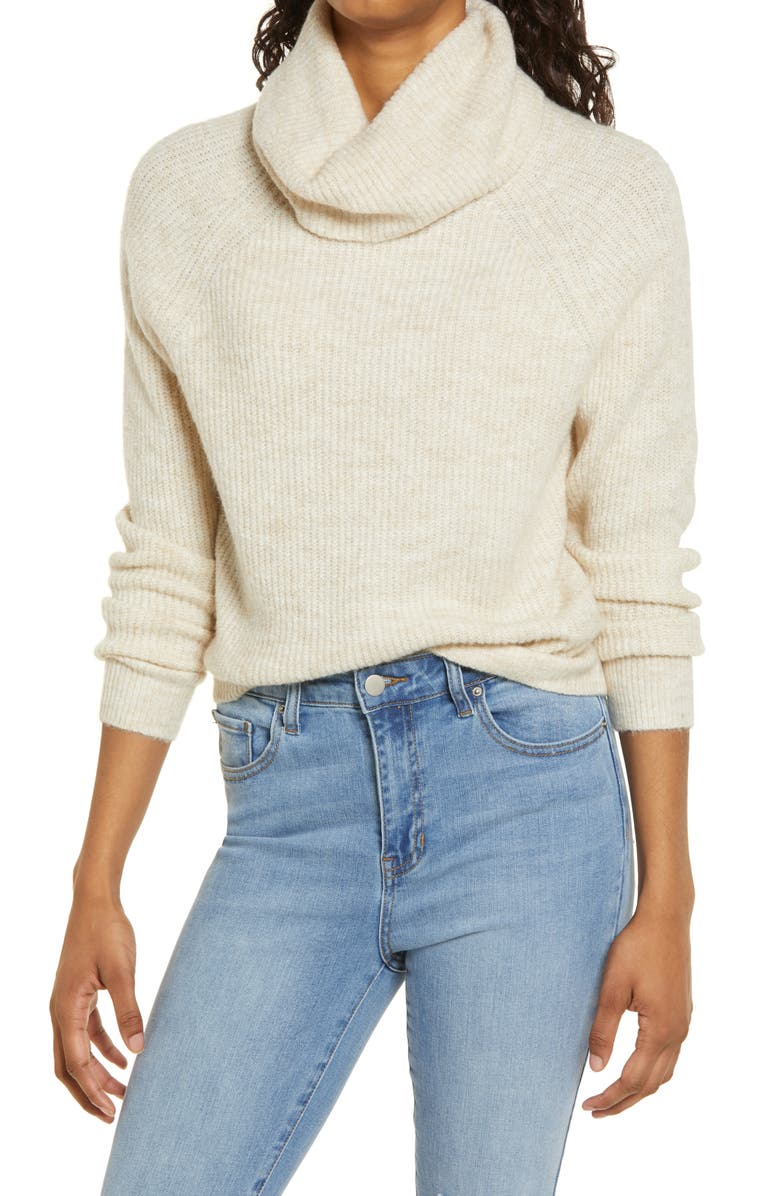 BP. Cozy Ribbed Turtleneck Sweater, Main, color, BEIGE OATMEAL LIGHT HEATHER