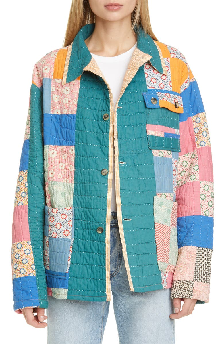 BODE One of a Kind Reworked Quilt Floral Nine Patch Workwear Jacket, Main, color, BRIGHT PASTEL/FLORAL MULTI