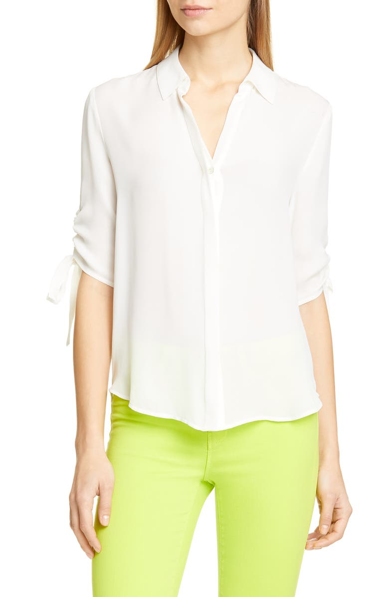 LAGENCE L'AGENCE Isa Ruched Sleeve Silk Blouse, Main, color, IVORY