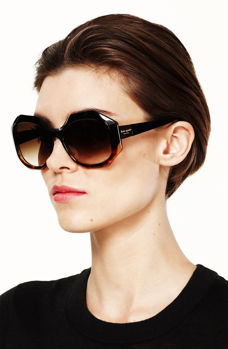 KATE SPADE NEW YORK Oversized retro sunglasses, Main, color, SAND CRYSTAL/ BROWN GRADIENT