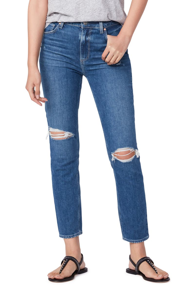 PAIGE Sarah Ripped High Waist Slim Jeans, Main, color, WARE DESTRUCTED