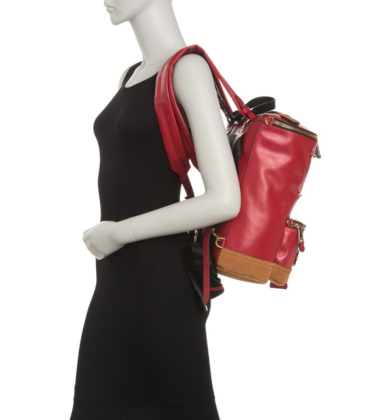MOSCHINO Leather Bucket Backpack, Main, color, RED