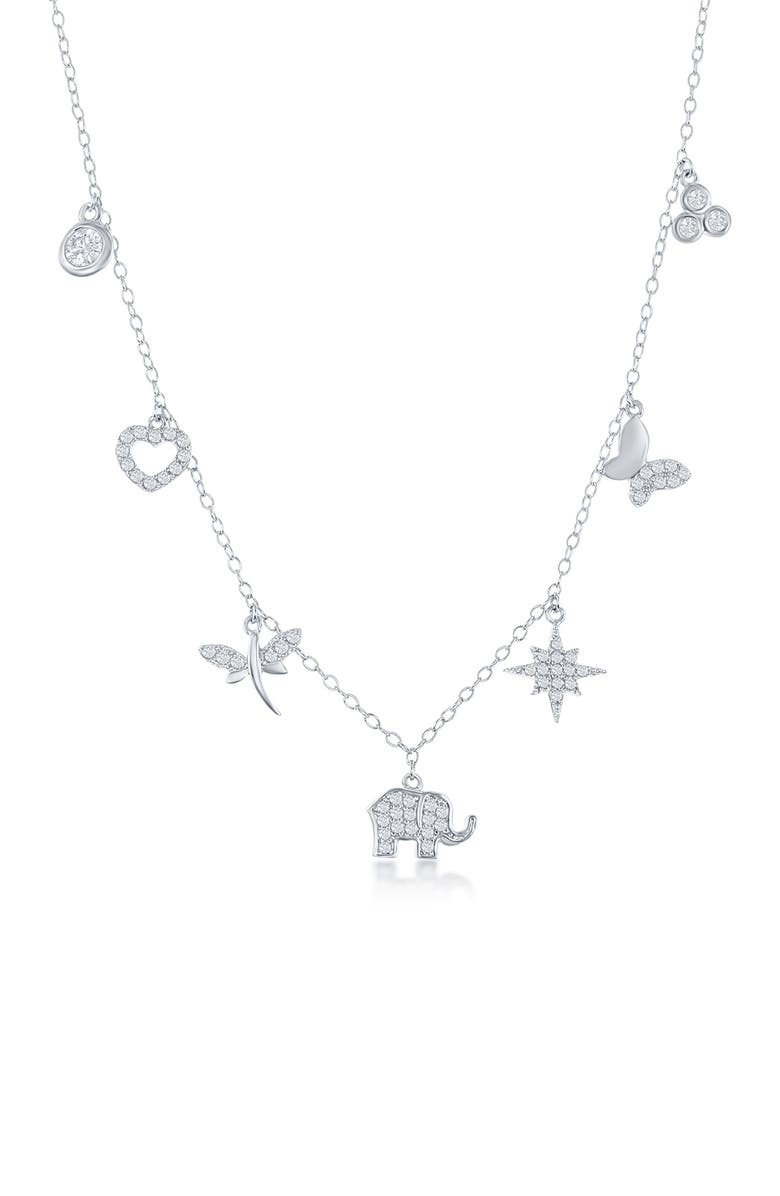 SIMONA Sterling SIlver CZ Pave Charm Necklace, Main, color, SILVER