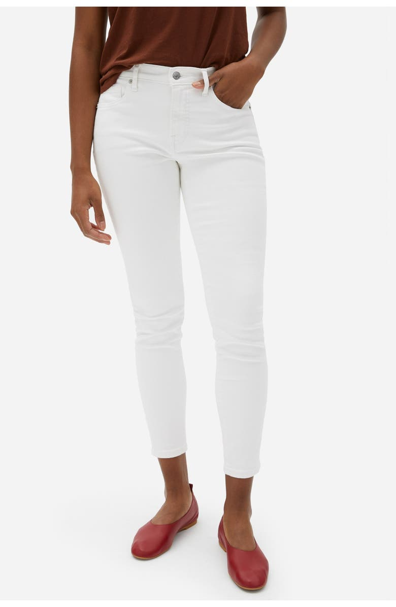 EVERLANE The Authentic Stretch Mid Rise Skinny Crop Jeans, Main, color, WHITE