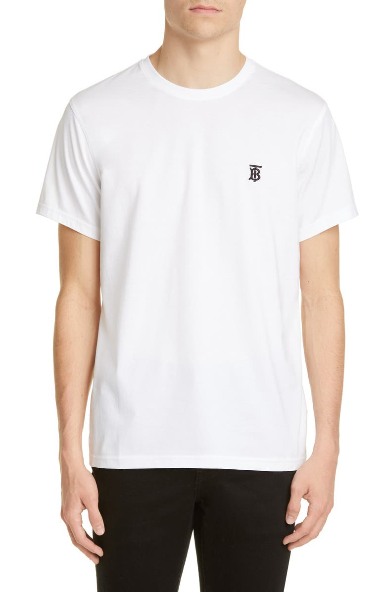 BURBERRY Parker Embroidered Logo T-Shirt, Main, color, White