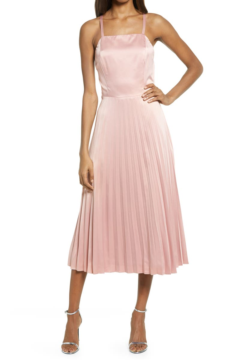 LULUS Give Us a Twirl Pleated Satin Midi Dress, Main, color, ROSE PINK