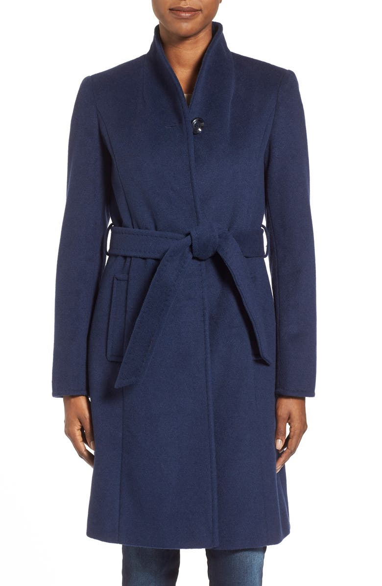 ELLEN TRACY Belted Wool Blend Stand CollarCoat, Main, color, 402