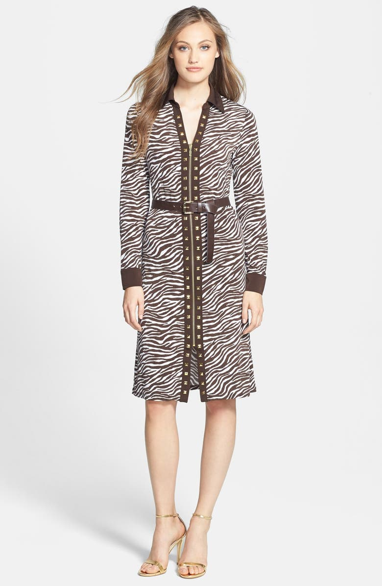 MICHAEL MICHAEL KORS Print Belted Studded Zip Front Shirtdress, Main, color, 100