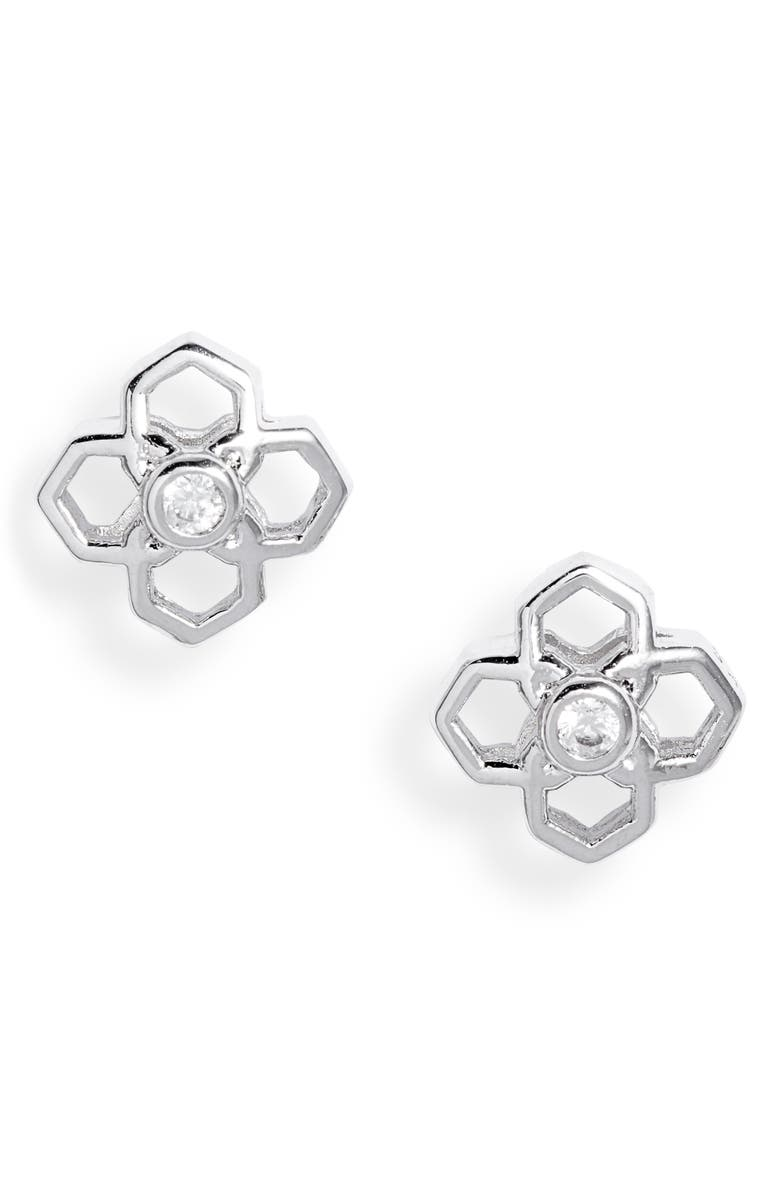 KENDRA SCOTT Rue Stud Earrings, Main, color, RHODIUM