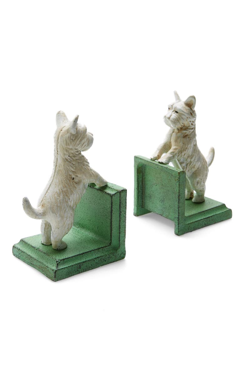 HOMART Westie Cast Iron Bookends, Main, color, WHITE AND GREEN