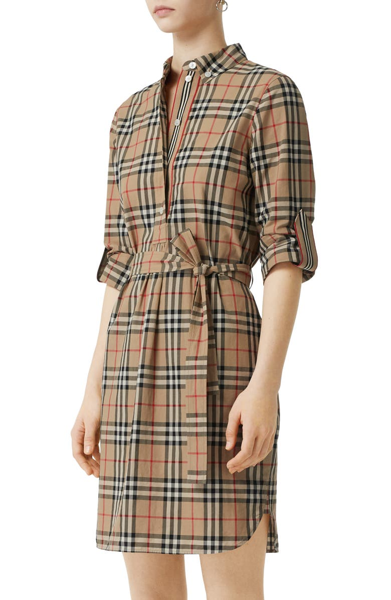BURBERRY Giovanna Vintage Check Long Sleeve Stretch Cotton Shirtdress, Main, color, ARCHIVE BEIGE IP CHK