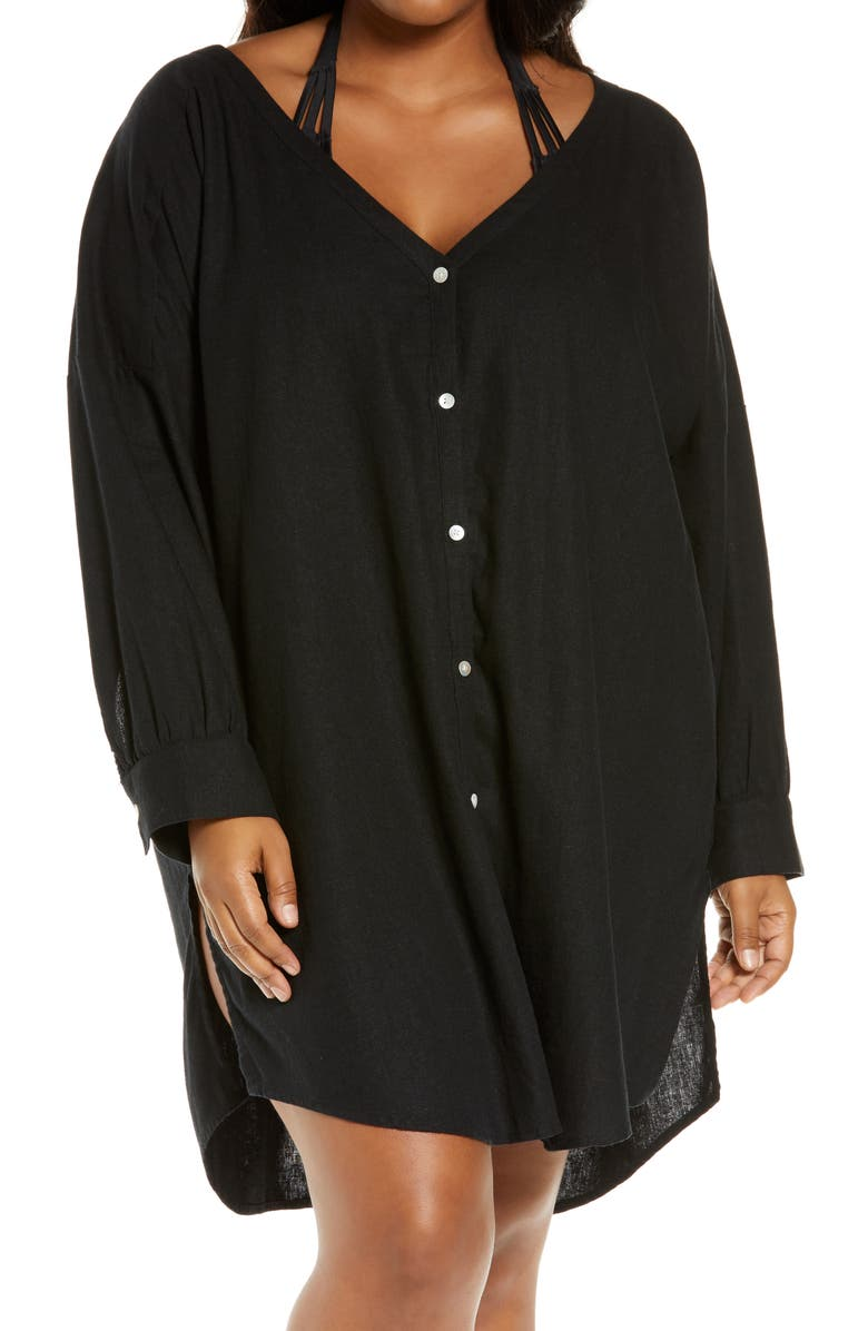 CHELSEA28 Oversize Button-Up Cover-Up, Main, color, BLACK