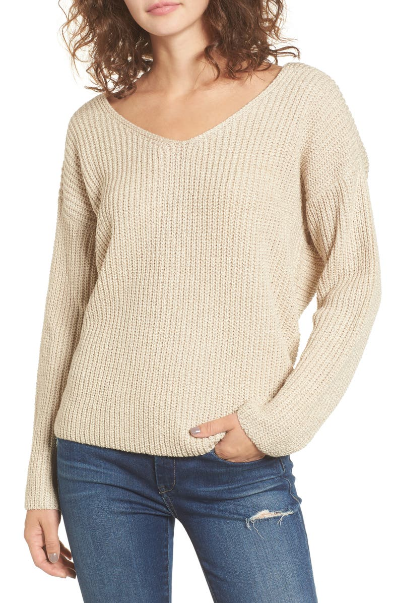 ASTR THE LABEL Twist Back Sweater, Main, color, OATMEAL