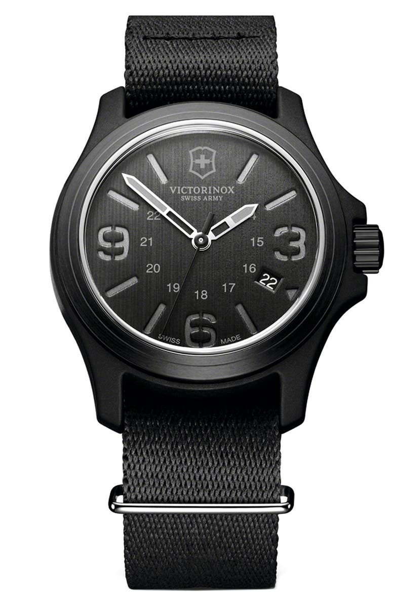 VICTORINOX SWISS ARMY<SUP>®</SUP> 'Original' Nylon Strap Watch, 40mm, Main, color, 001
