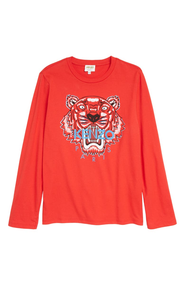 KENZO Tiger Icon Long Sleeve Graphic Tee, Main, color, RED