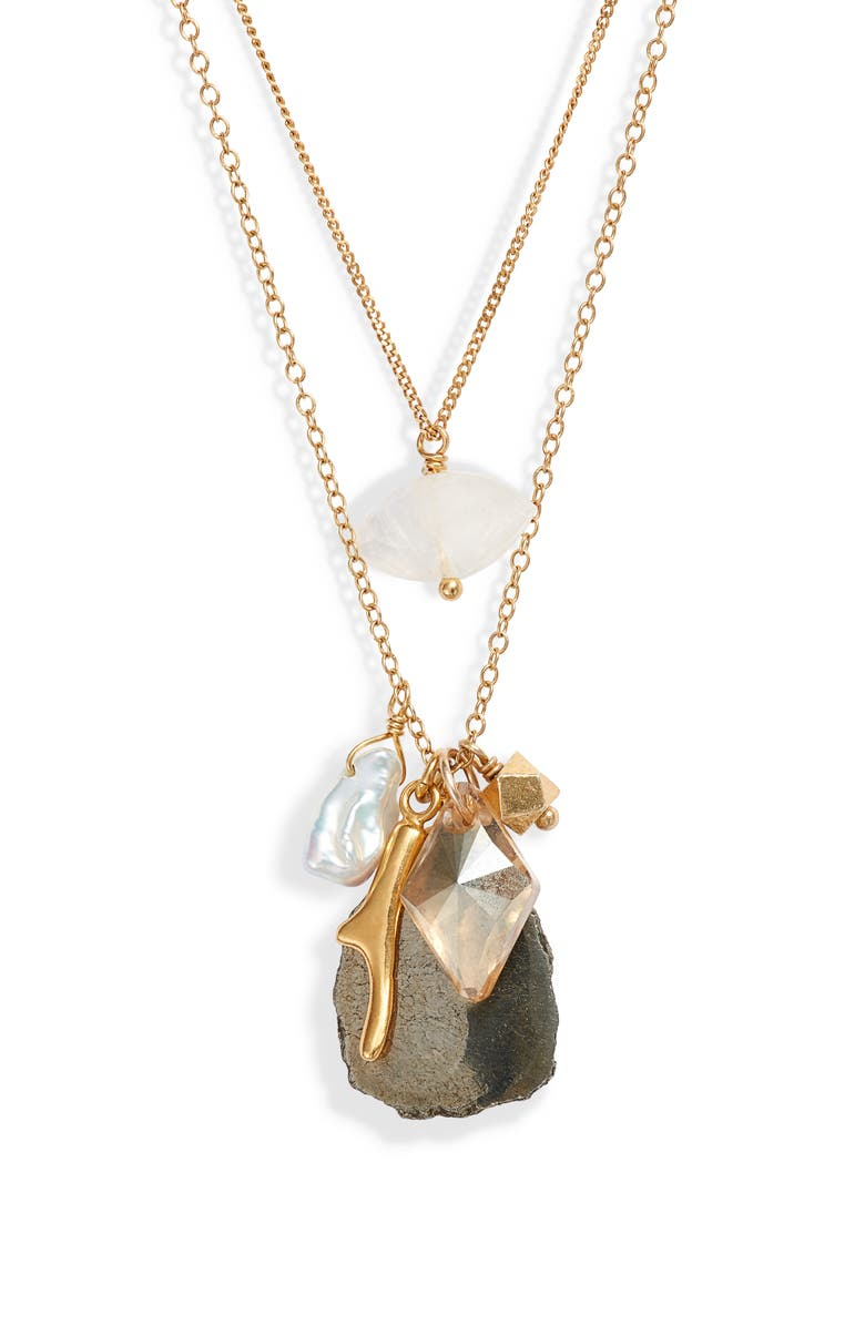 CHAN LUU Double Layer Pyrite & Cultured Pearl Pendant Necklace, Main, color, 710