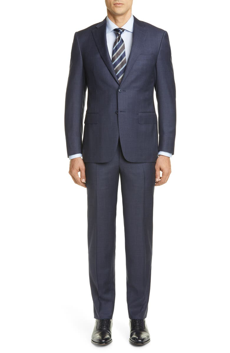 CANALI Sienna Soft Plaid Wool Suit, Main, color, 400