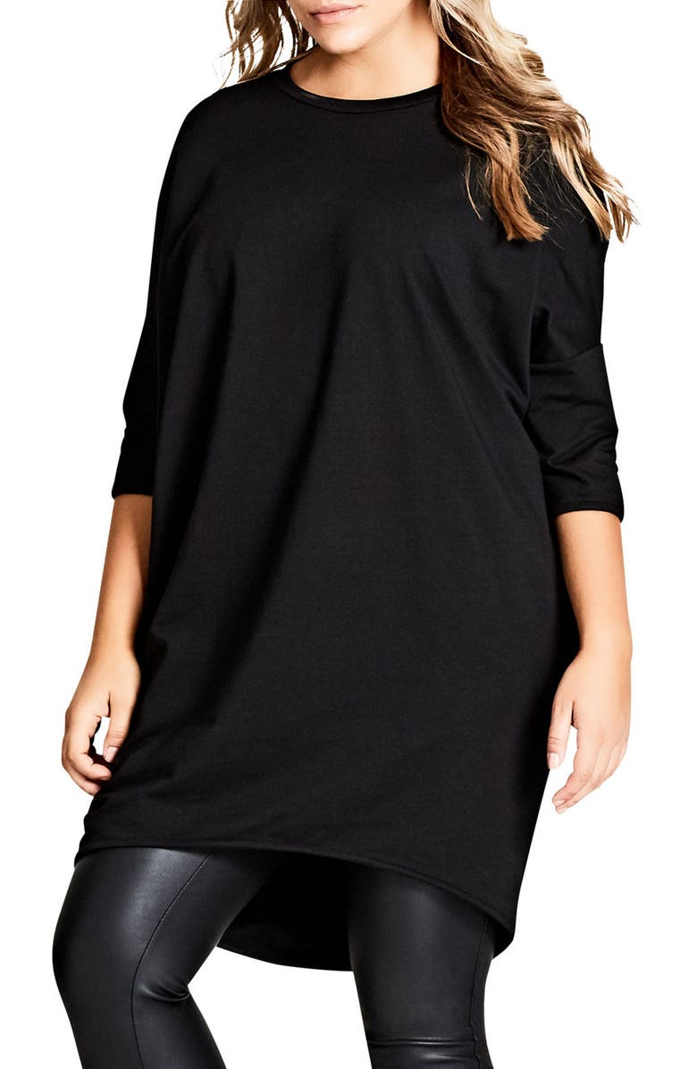 CITY CHIC Oversize Knit Tee, Main, color, BLACK