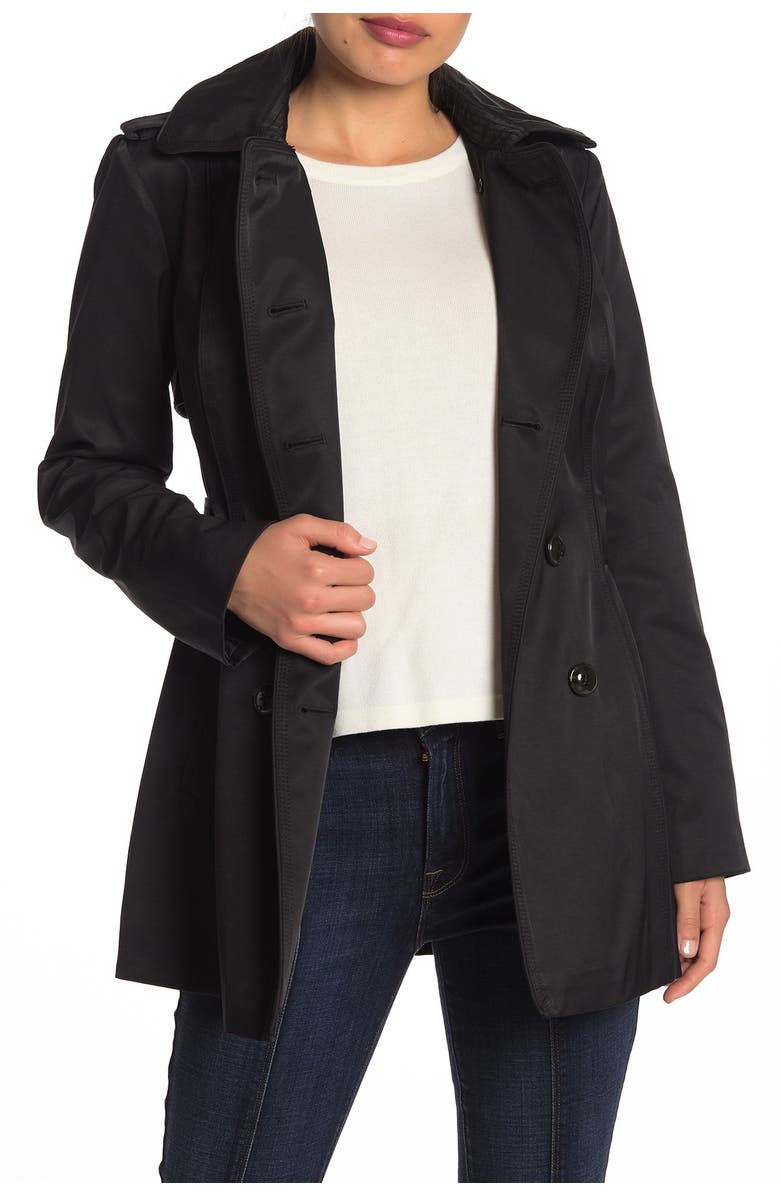 GUESS Double Breasted Hooded Trench Coat, Main, color, BLACK