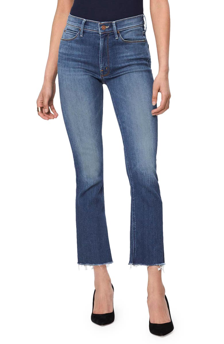 MOTHER The Hustler High Waist Ankle Fray Jeans, Main, color, 420