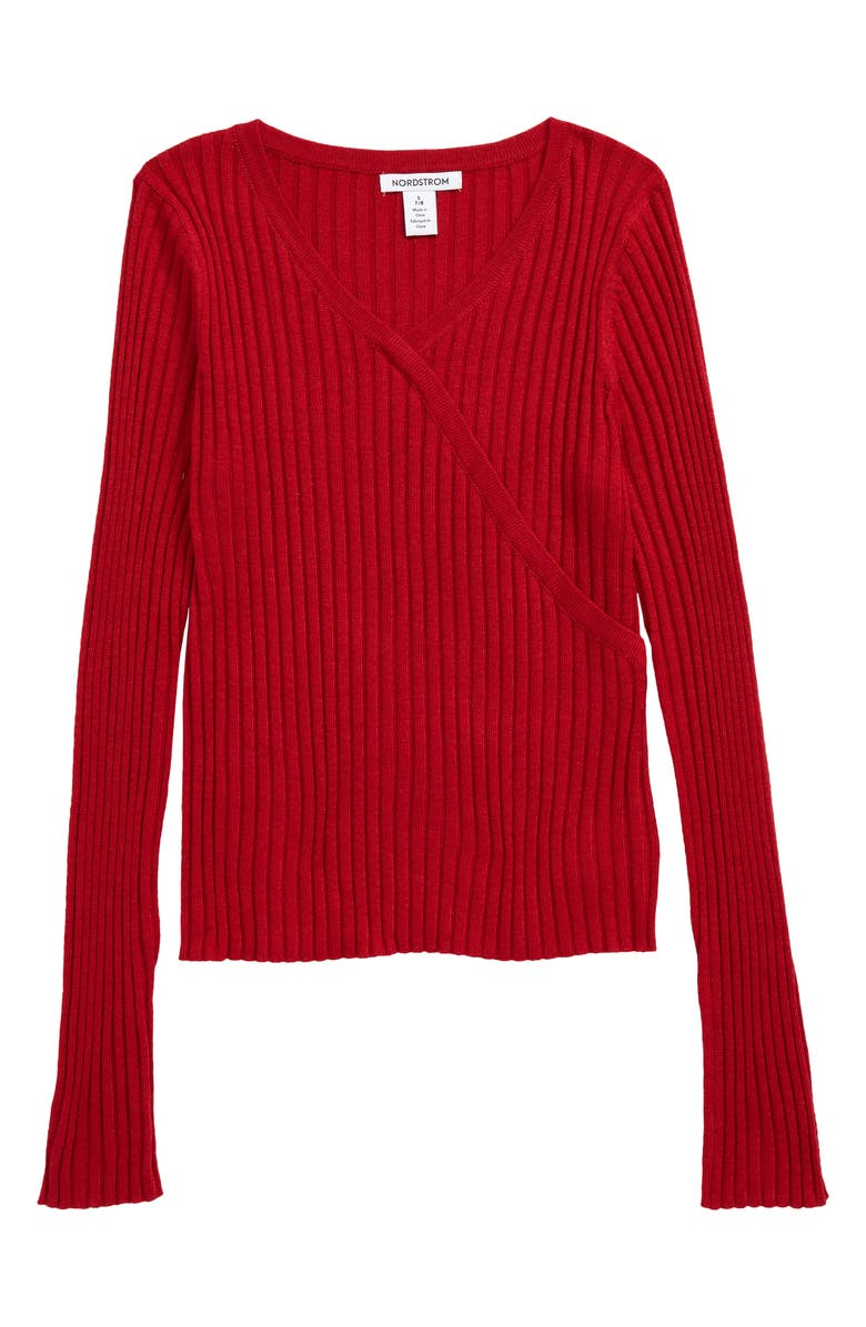 NORDSTROM 1901 Kids' Faux Wrap Ribbed Sweater, Main, color, RED CHILI HEATHER