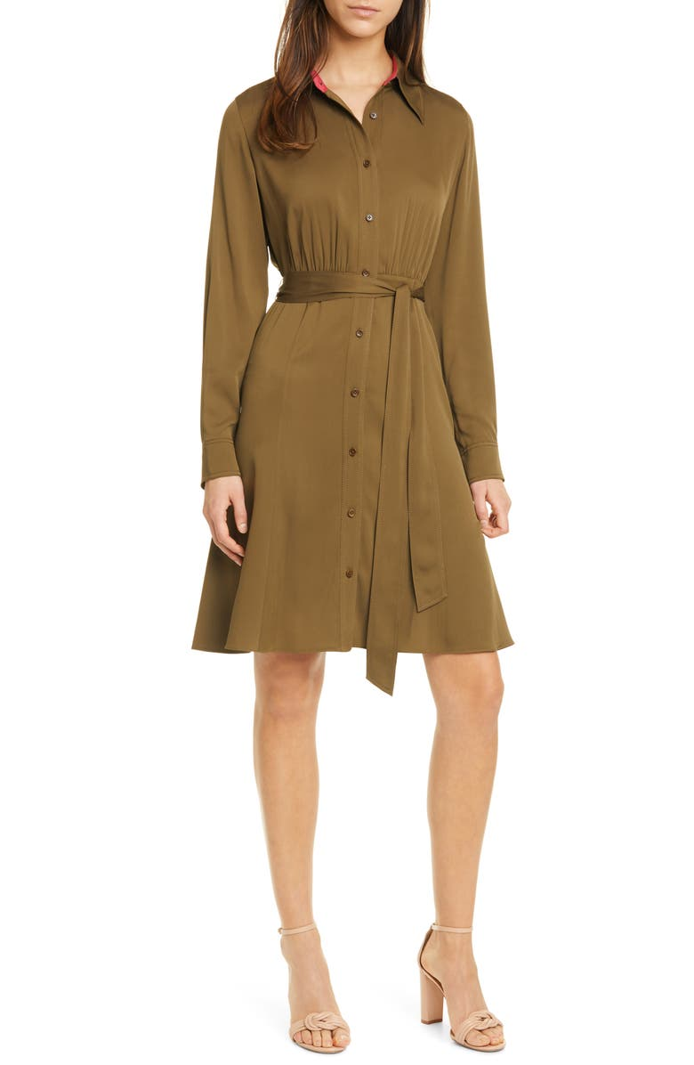 DVF Dory Long Sleeve Stretch Silk Shirtdress, Main, color, 200