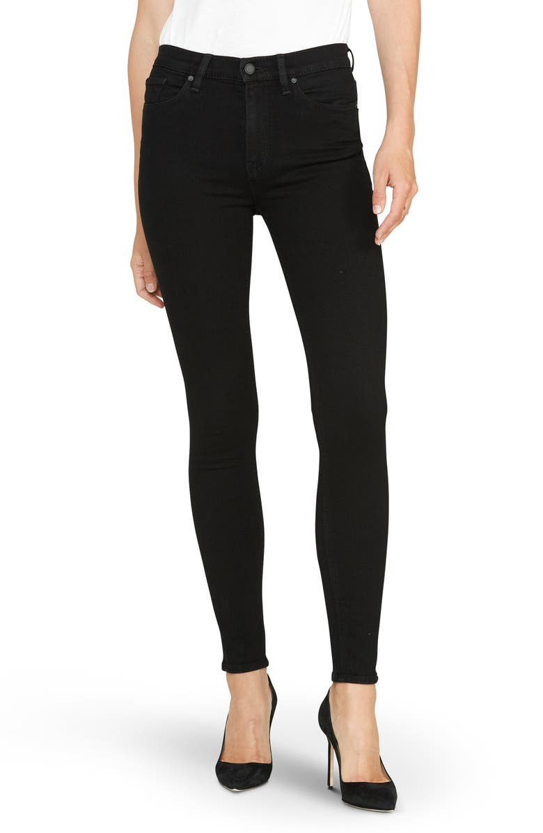 HUDSON JEANS Barbara High Waist Super Skinny Jeans, Main, color, BLACK