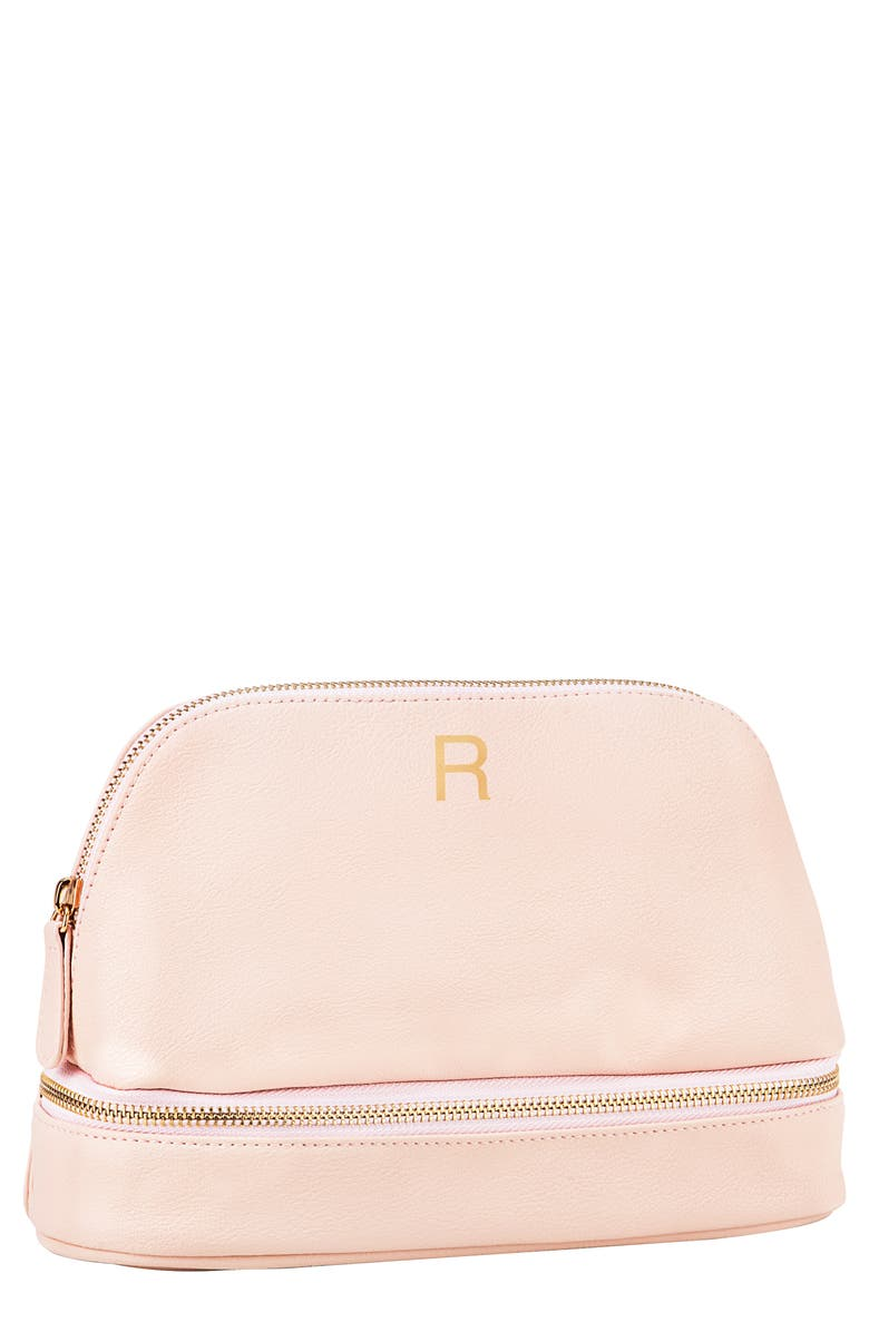 CATHY'S CONCEPTS Monogram Vegan Leather Cosmetics Case, Main, color, BLUSH PINK R