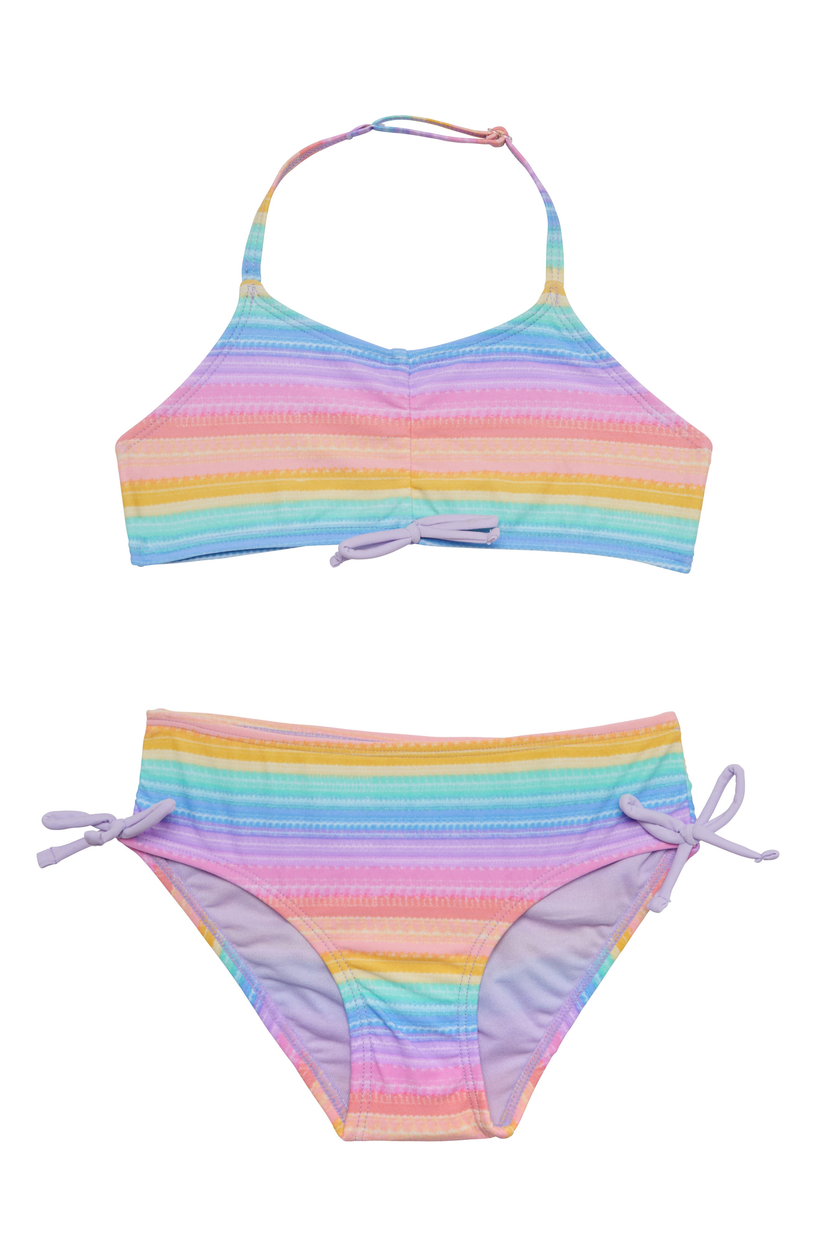 Girls Two Piece Swimsuits Rainbow Bikini Sets Adjustable Strap Bathing Suits