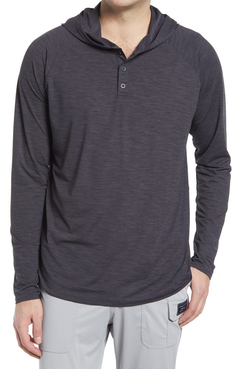 ANETIK Fuse Henley Hoodie, Main, color, CHARCOAL HEATHERED