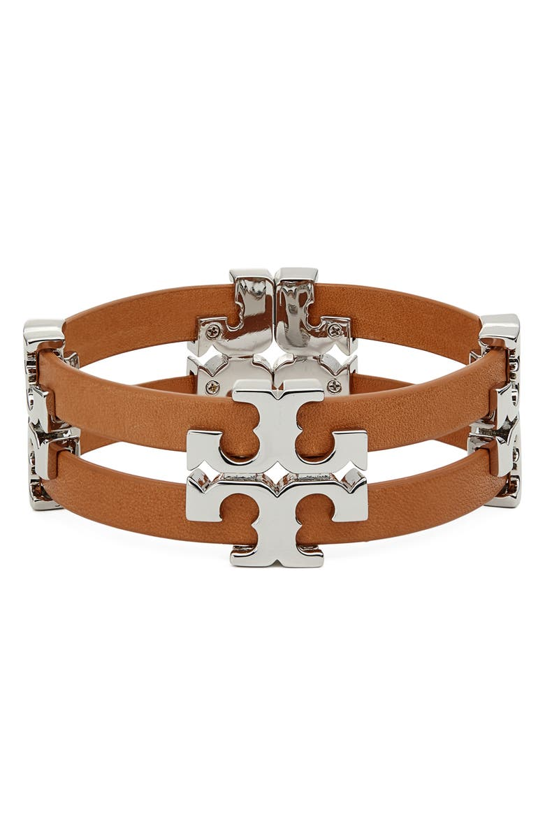 TORY BURCH Serif T Stacked Leather Bracelet, Main, color, TORY SILVER / VACHETTA
